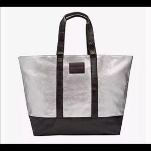 Victoria's Secret silver weekender silver tote bag